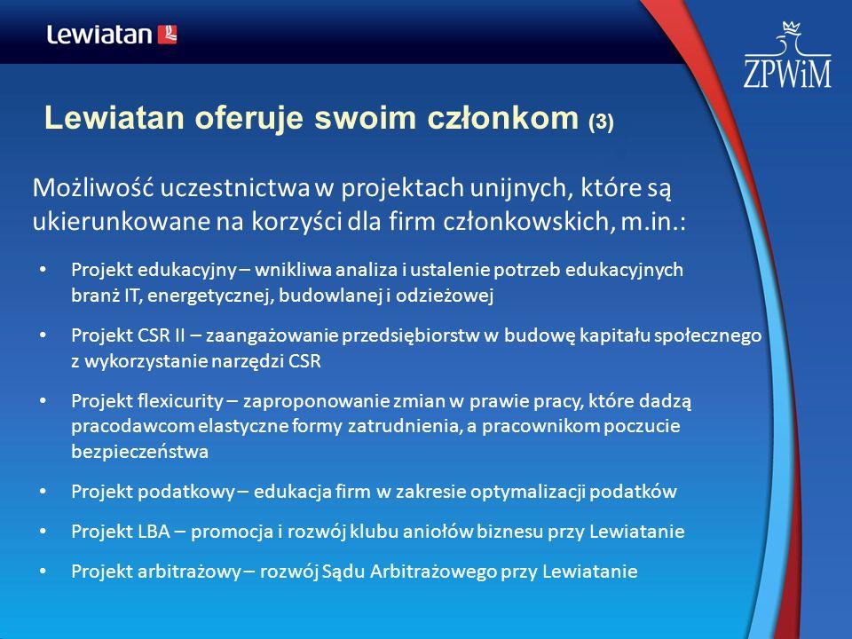 Lewiatan oferuje swoim członkom (3) Możliwość uczestnictwa w projektach unijnych, które są ukierunkowane na korzyści dla firm członkowskich, m.in.: Pr