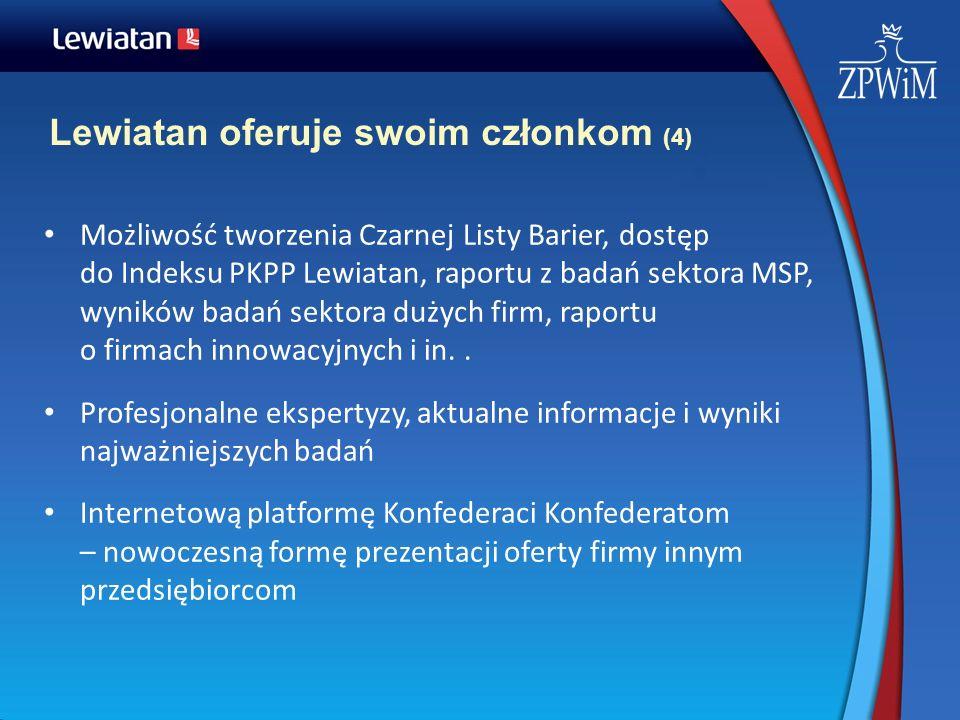 Lewiatan oferuje swoim członkom (4) Możliwość tworzenia Czarnej Listy Barier, dostęp do Indeksu PKPP Lewiatan, raportu z badań sektora MSP, wyników ba