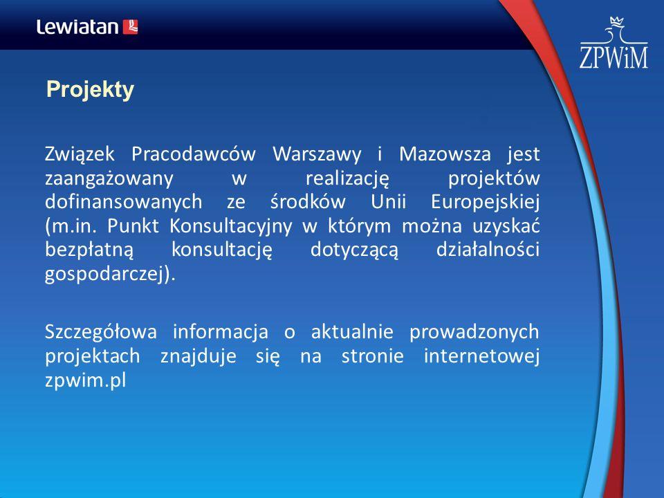 Projekty Związek Pracodawców Warszawy i Mazowsza jest zaangażowany w realizację projektów dofinansowanych ze środków Unii Europejskiej (m.in. Punkt Ko