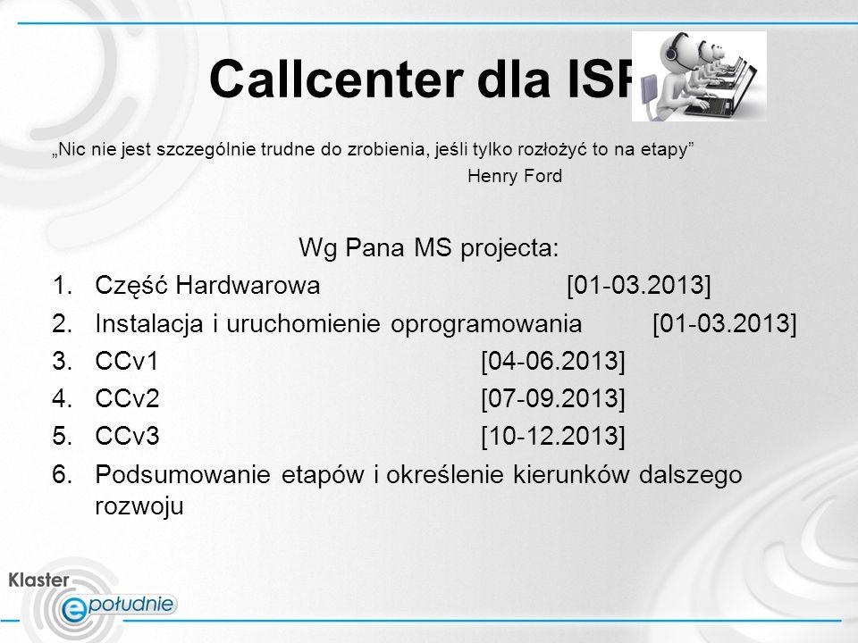 Callcenter dla ISP Nic nie jest szczególnie trudne do zrobienia, jeśli tylko rozłożyć to na etapy Henry Ford Wg Pana MS projecta: 1.Część Hardwarowa[01-03.2013] 2.Instalacja i uruchomienie oprogramowania[01-03.2013] 3.CCv1 [04-06.2013] 4.CCv2[07-09.2013] 5.CCv3[10-12.2013] 6.Podsumowanie etapów i określenie kierunków dalszego rozwoju