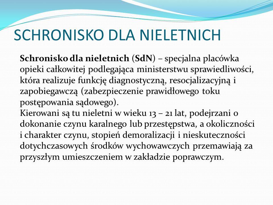 SCHRONISKO DLA NIELETNICH Schronisko dla nieletnich (SdN) – specjalna placówka opieki całkowitej podlegająca ministerstwu sprawiedliwości, która reali
