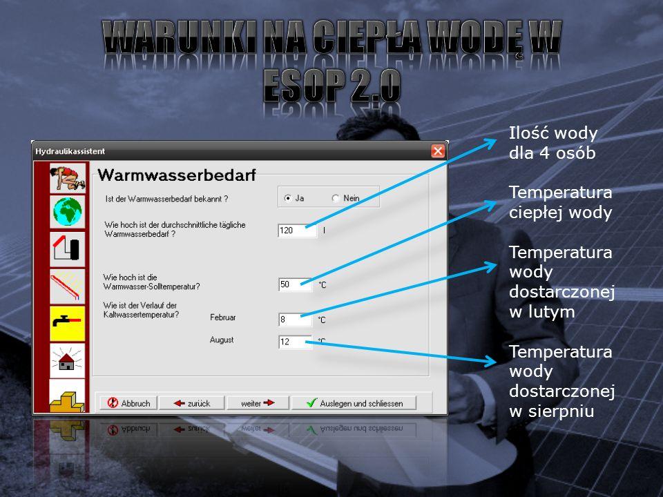 Ilość wody dla 4 osób Temperatura ciepłej wody Temperatura wody dostarczonej w lutym Temperatura wody dostarczonej w sierpniu