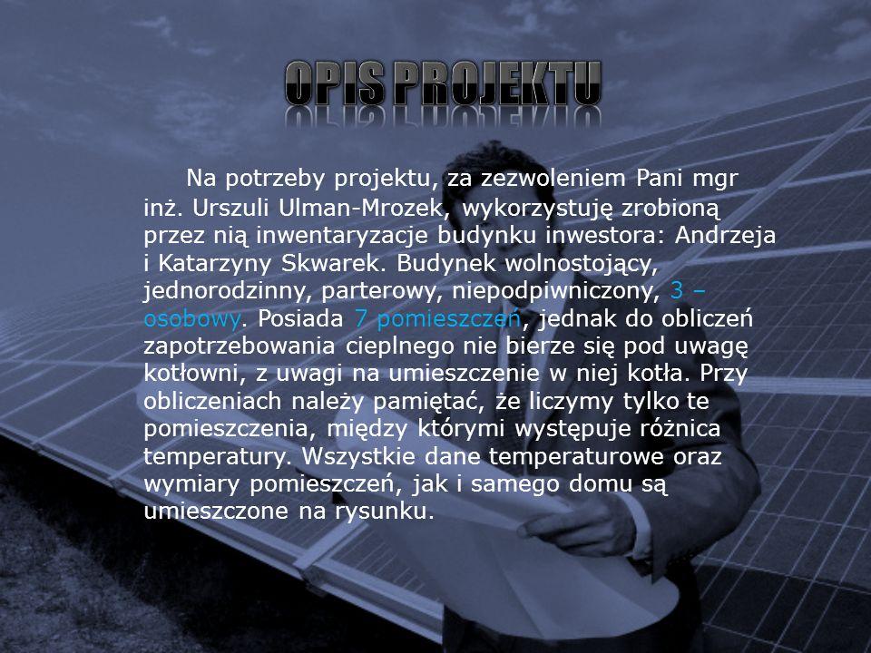 Na potrzeby projektu, za zezwoleniem Pani mgr inż. Urszuli Ulman-Mrozek, wykorzystuję zrobioną przez nią inwentaryzacje budynku inwestora: Andrzeja i