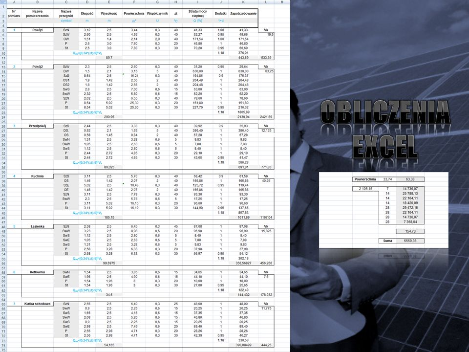 Na następujących zrzutach ekranowych przedstawiono wykres obróbki powietrza wewnętrznego w procesie ogrzewania budynku za pomocą programu Mollier.