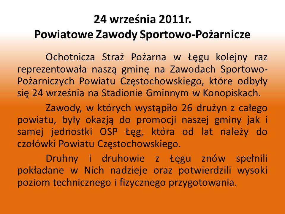 Ochotnicza Straż Pożarna w Łęgu kolejny raz reprezentowała naszą gminę na Zawodach Sportowo- Pożarniczych Powiatu Częstochowskiego, które odbyły się 2