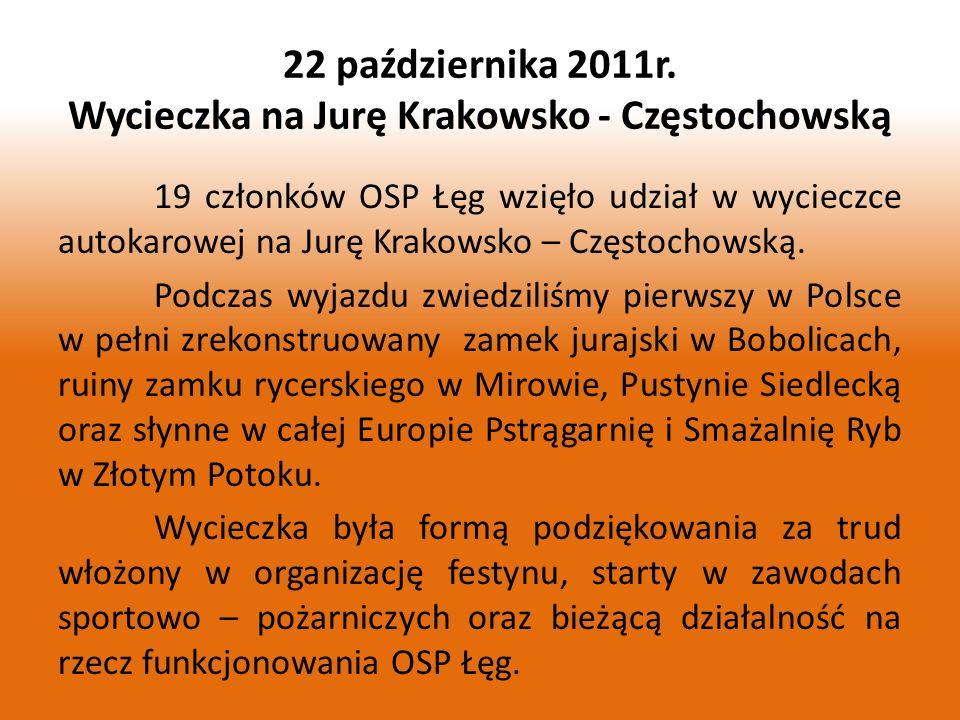 19 członków OSP Łęg wzięło udział w wycieczce autokarowej na Jurę Krakowsko – Częstochowską. Podczas wyjazdu zwiedziliśmy pierwszy w Polsce w pełni zr