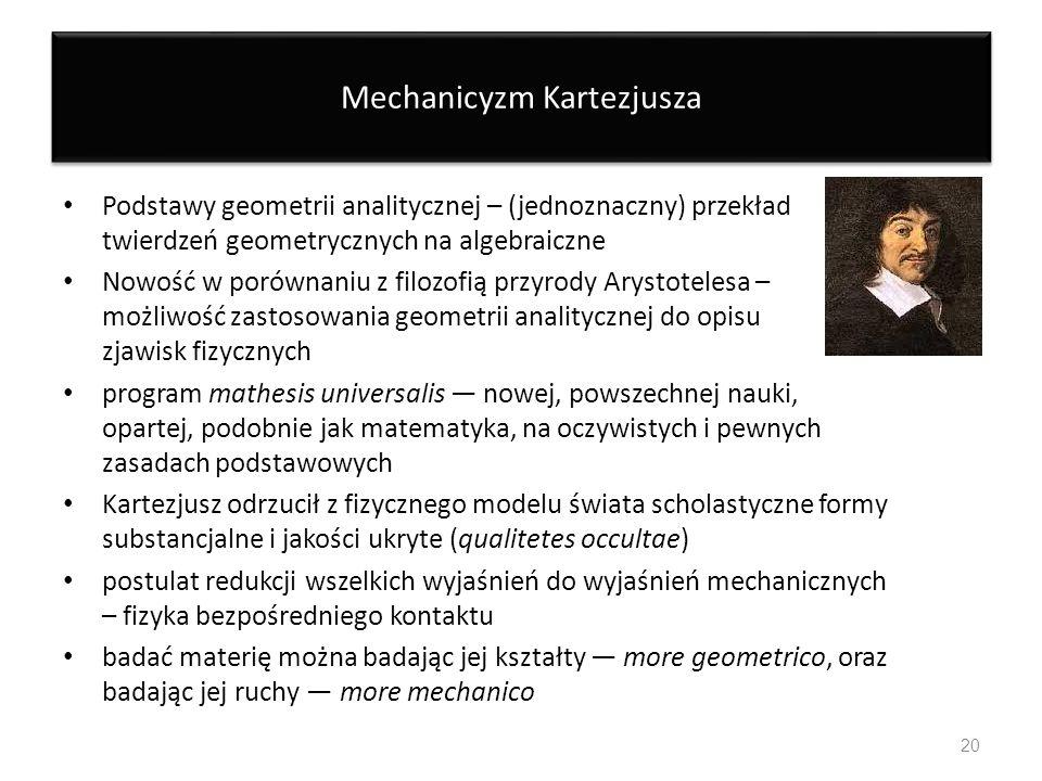 Mechanicyzm Kartezjusza Podstawy geometrii analitycznej – (jednoznaczny) przekład twierdzeń geometrycznych na algebraiczne Nowość w porównaniu z filoz
