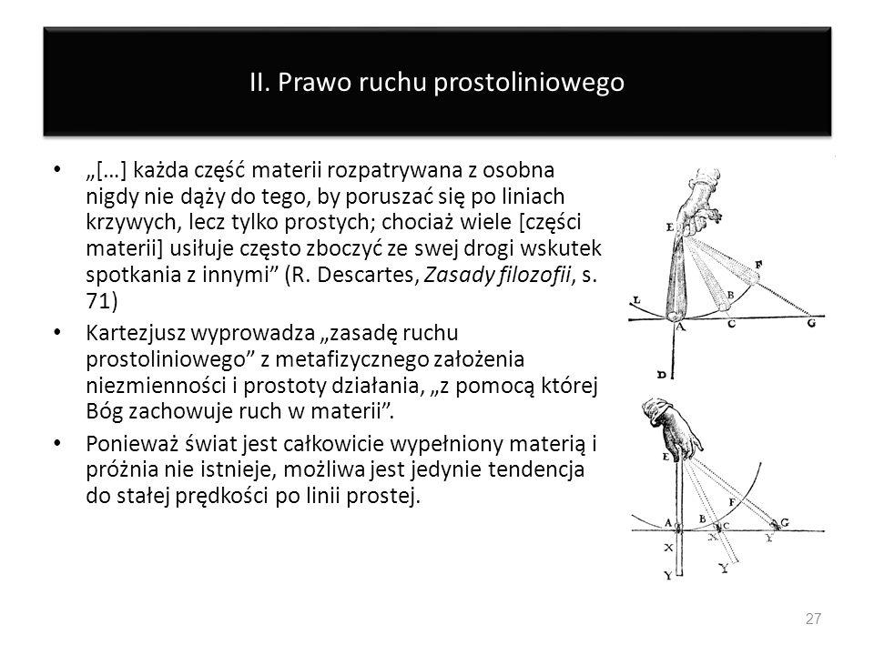 II. Prawo ruchu prostoliniowego […] każda część materii rozpatrywana z osobna nigdy nie dąży do tego, by poruszać się po liniach krzywych, lecz tylko