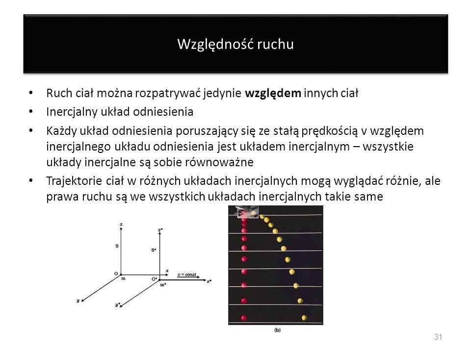 Względność ruchu Ruch ciał można rozpatrywać jedynie względem innych ciał Inercjalny układ odniesienia Każdy układ odniesienia poruszający się ze stał