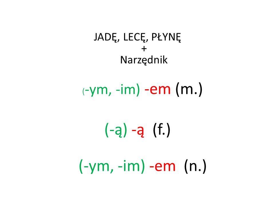 JADĘ, LECĘ, PŁYNĘ + Narzędnik ( -ym, -im) -em (m.) (-ą) -ą (f.) (-ym, -im) -em (n.)