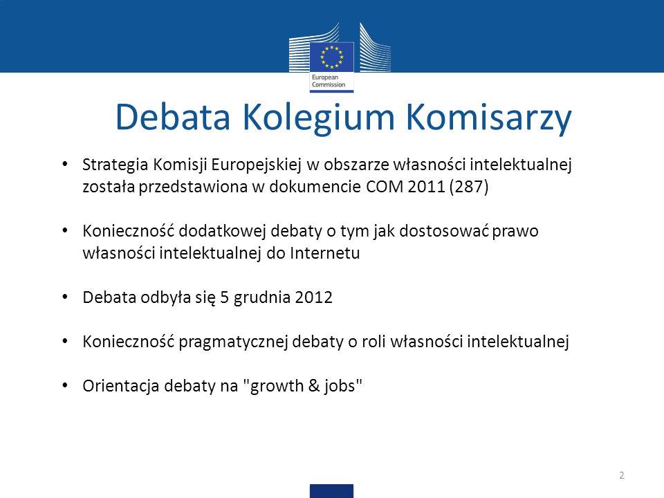 Debata Kolegium Komisarzy 2 Ddirefc Strategia Komisji Europejskiej w obszarze własności intelektualnej została przedstawiona w dokumencie COM 2011 (287) Konieczność dodatkowej debaty o tym jak dostosować prawo własności intelektualnej do Internetu Debata odbyła się 5 grudnia 2012 Konieczność pragmatycznej debaty o roli własności intelektualnej Orientacja debaty na growth & jobs