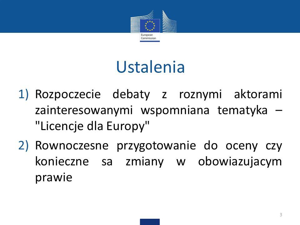 Licencje dla Europy Dyskusja o tym jak można polepszyć stosowanie obecnego prawa autorskiego bez zmian w prawie Dyskusja o postanowieniach licencyjnych, wykorzystaniu technologii etc.