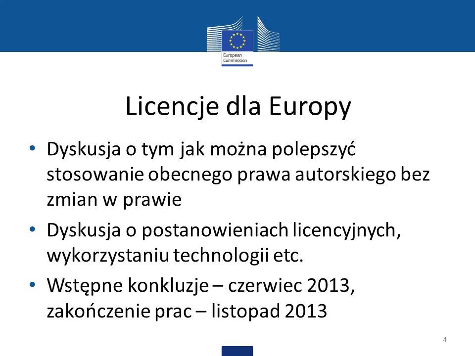 Licencje dla Europy Dyskusja o tym jak można polepszyć stosowanie obecnego prawa autorskiego bez zmian w prawie Dyskusja o postanowieniach licencyjnyc