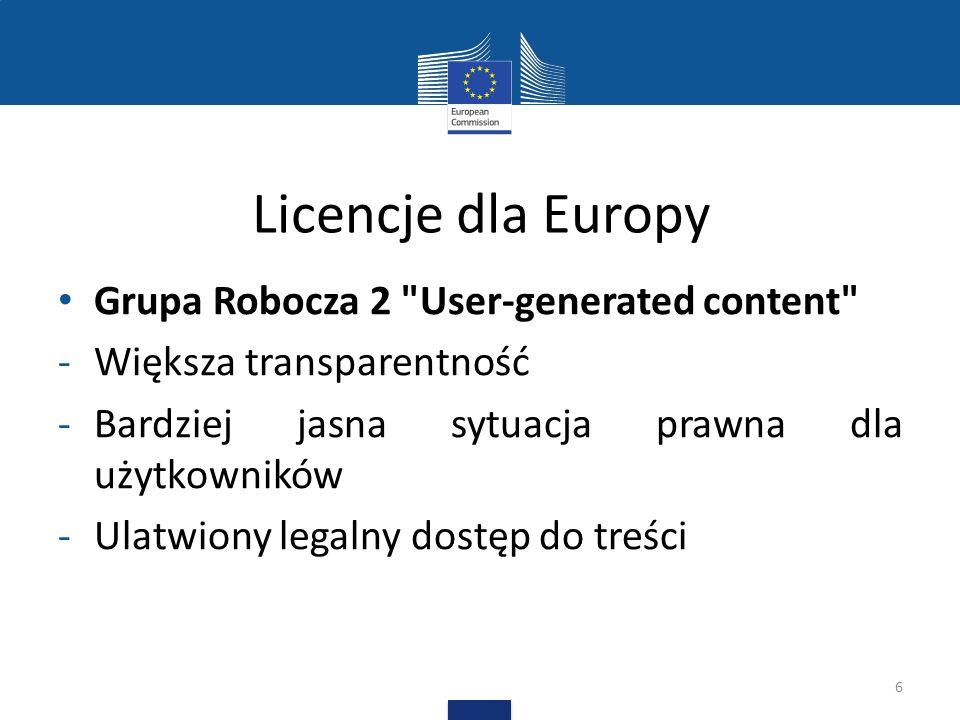 Licencje dla Europy Grupa Robocza 3 Audiovisual Sector and Cultural Heritage Institutions -Polepszenie możliwości dostępu przez Internet -Identyfikacja rozwiązań dla rożnego typu użytku 7
