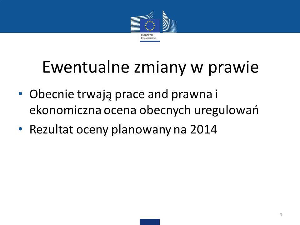 Ewentualne zmiany w prawie Obecnie trwają prace and prawna i ekonomiczna ocena obecnych uregulowań Rezultat oceny planowany na 2014 9