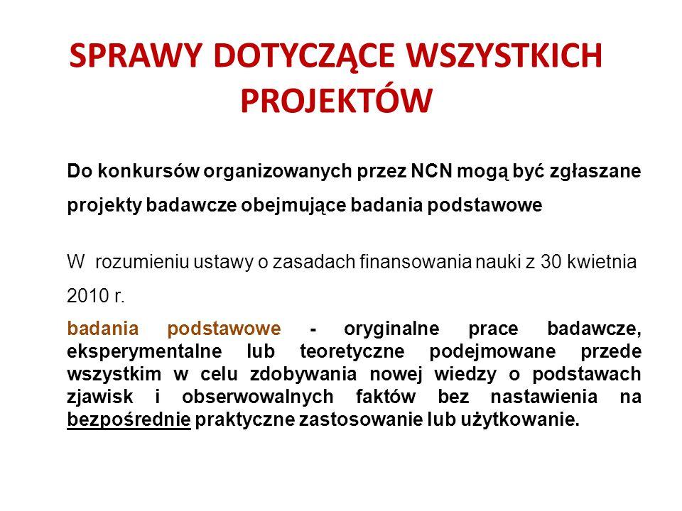 UWAGA: Decyzją Rady NCN m.in.: wprowadzono ograniczenia w występowaniu z wnioskami w konkursach NCN: – 20% kierowników projektów niezakwalifikowanych do II etapu nie może występować z wnioskami o finansowanie projektów badawczych w kolejnej edycji tego konkursu - karencja; – w konkursach ogłoszonych w tym samym dniu (w danej edycji konkursów) można występować w charakterze kierownika projektu tylko w jednym wniosku;