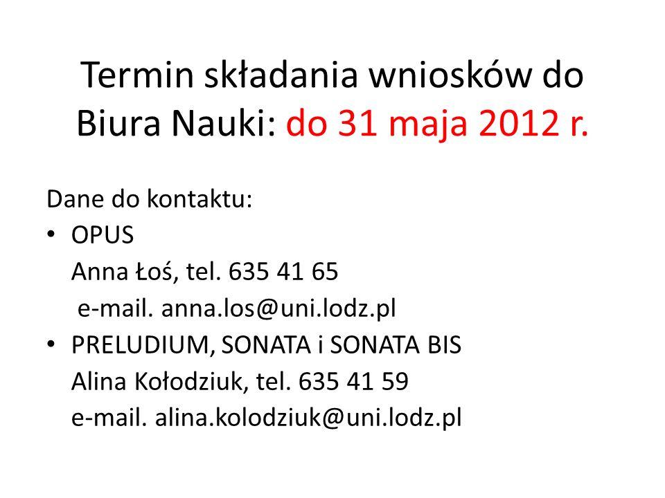 Termin składania wniosków do Biura Nauki: do 31 maja 2012 r.
