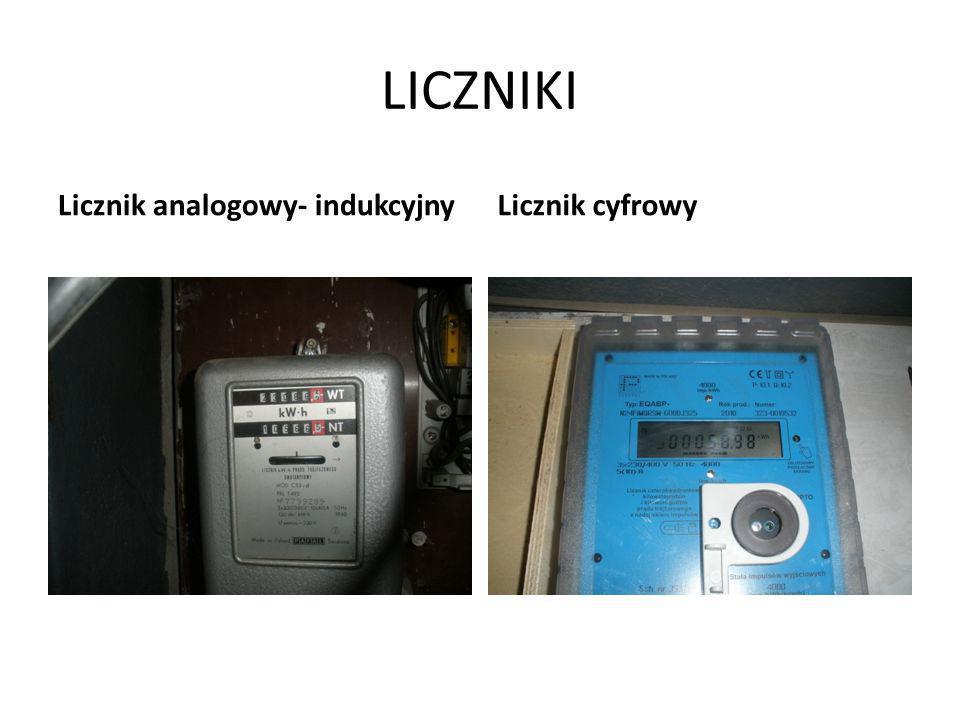 LICZNIKI Licznik analogowy- indukcyjnyLicznik cyfrowy