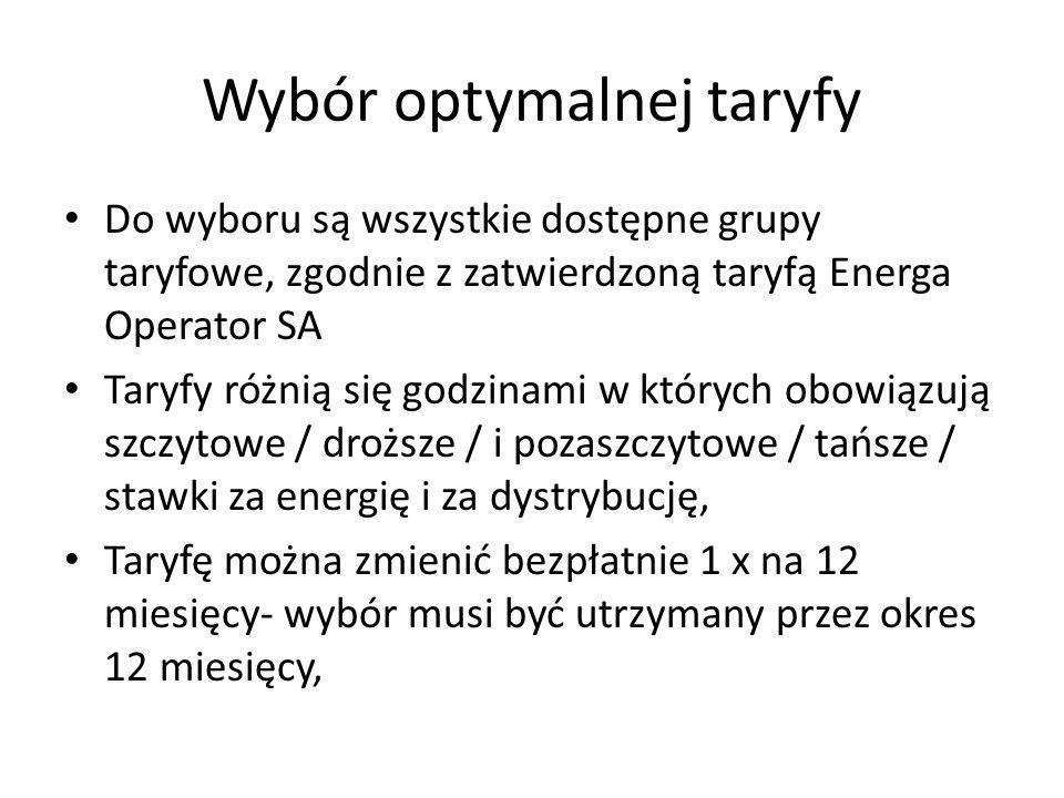 Wybór optymalnej taryfy Do wyboru są wszystkie dostępne grupy taryfowe, zgodnie z zatwierdzoną taryfą Energa Operator SA Taryfy różnią się godzinami w