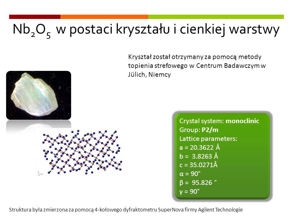 Nb 2 O 5 w postaci kryształu i cienkiej warstwy Crystal system: monoclinic Group: P2/m Lattice parameters: a = 20.3622 Å b = 3.8263 Å c = 35.0271Å α =