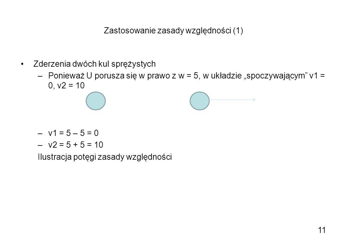 Zastosowanie zasady względności (1) Zderzenia dwóch kul sprężystych –Ponieważ U porusza się w prawo z w = 5, w układzie spoczywającym v1 = 0, v2 = 10
