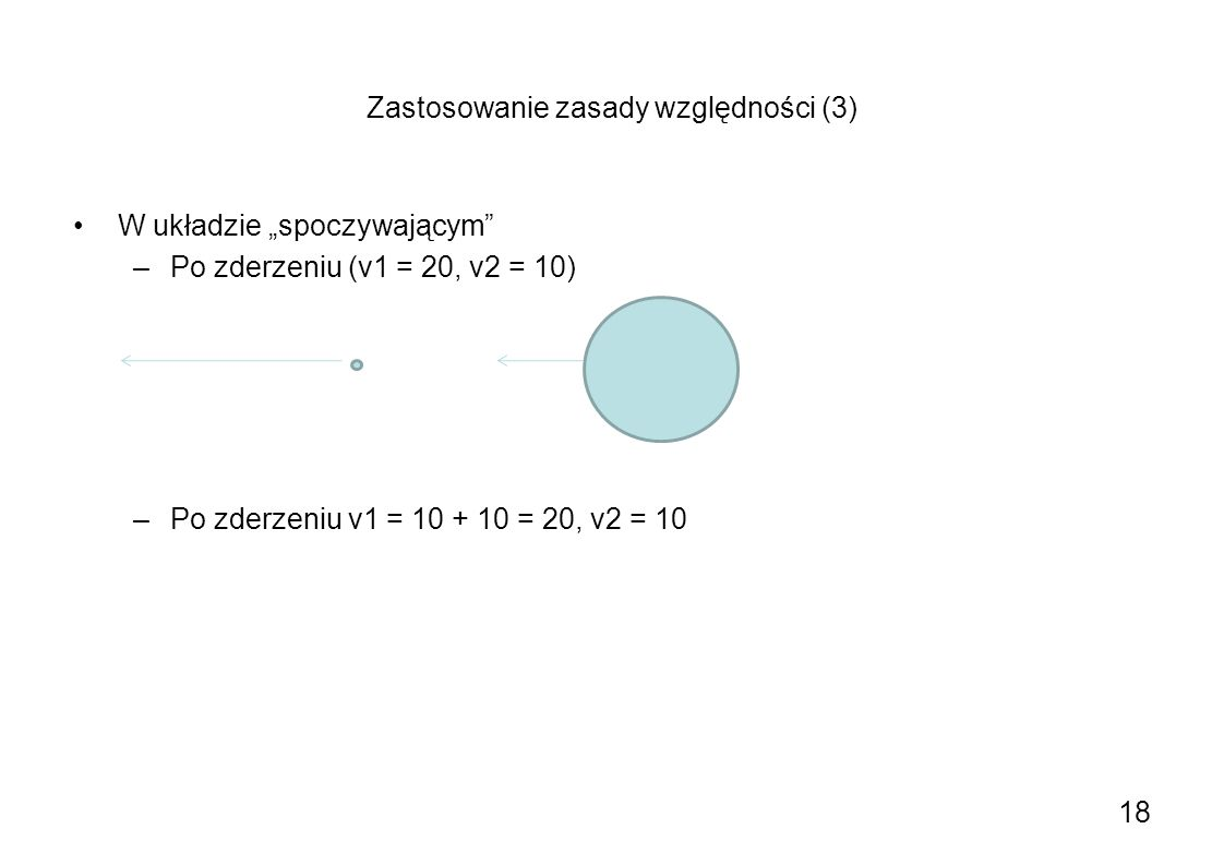 Zastosowanie zasady względności (3) W układzie spoczywającym –Po zderzeniu (v1 = 20, v2 = 10) –Po zderzeniu v1 = 10 + 10 = 20, v2 = 10 18