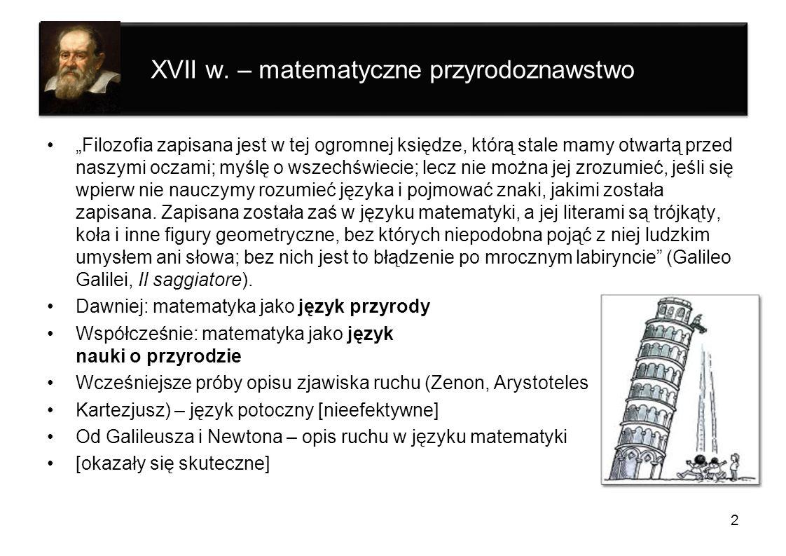XVII w. – matematyczne przyrodoznawstwo Filozofia zapisana jest w tej ogromnej księdze, którą stale mamy otwartą przed naszymi oczami; myślę o wszechś