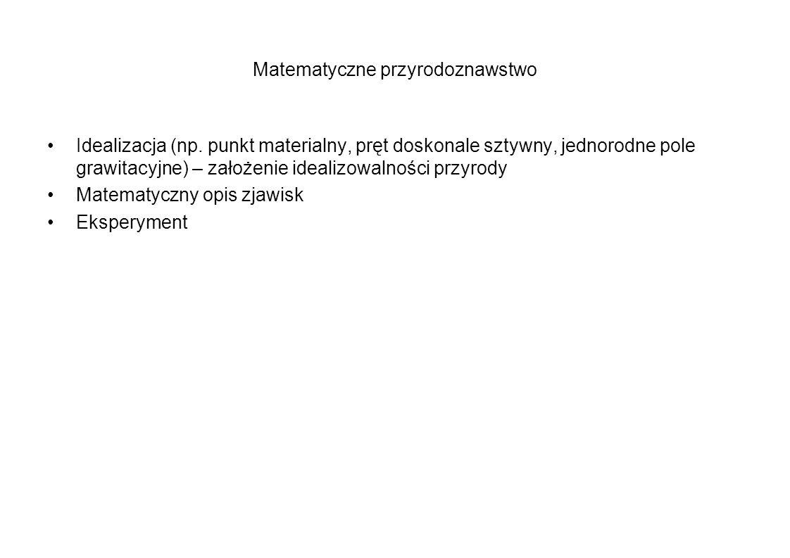 Matematyczne przyrodoznawstwo Idealizacja (np. punkt materialny, pręt doskonale sztywny, jednorodne pole grawitacyjne) – założenie idealizowalności pr