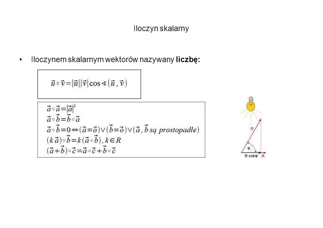 Iloczyn skalarny Iloczynem skalarnym wektorów nazywany liczbę: