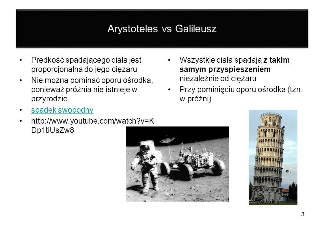 Arystoteles vs Galileusz Prędkość spadającego ciała jest proporcjonalna do jego ciężaru Nie można pominąć oporu ośrodka, ponieważ próżnia nie istnieje