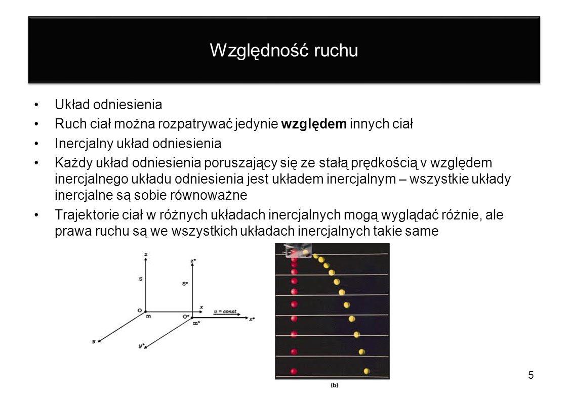 Względność ruchu Układ odniesienia Ruch ciał można rozpatrywać jedynie względem innych ciał Inercjalny układ odniesienia Każdy układ odniesienia porus