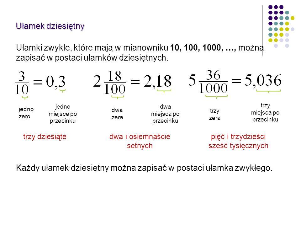 trzy dziesiątedwa i osiemnaście setnych pięć i trzydzieści sześć tysięcznych Ułamki zwykłe, które mają w mianowniku 10, 100, 1000, …, można zapisać w
