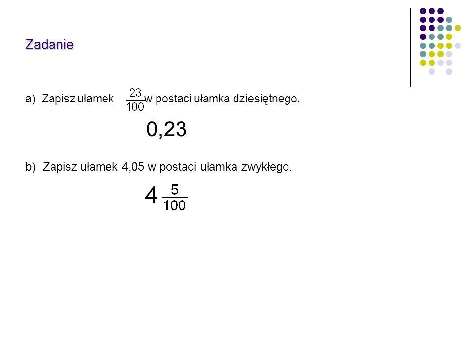 Zadanie 0,23 a) Zapisz ułamek w postaci ułamka dziesiętnego. b) Zapisz ułamek 4,05 w postaci ułamka zwykłego.