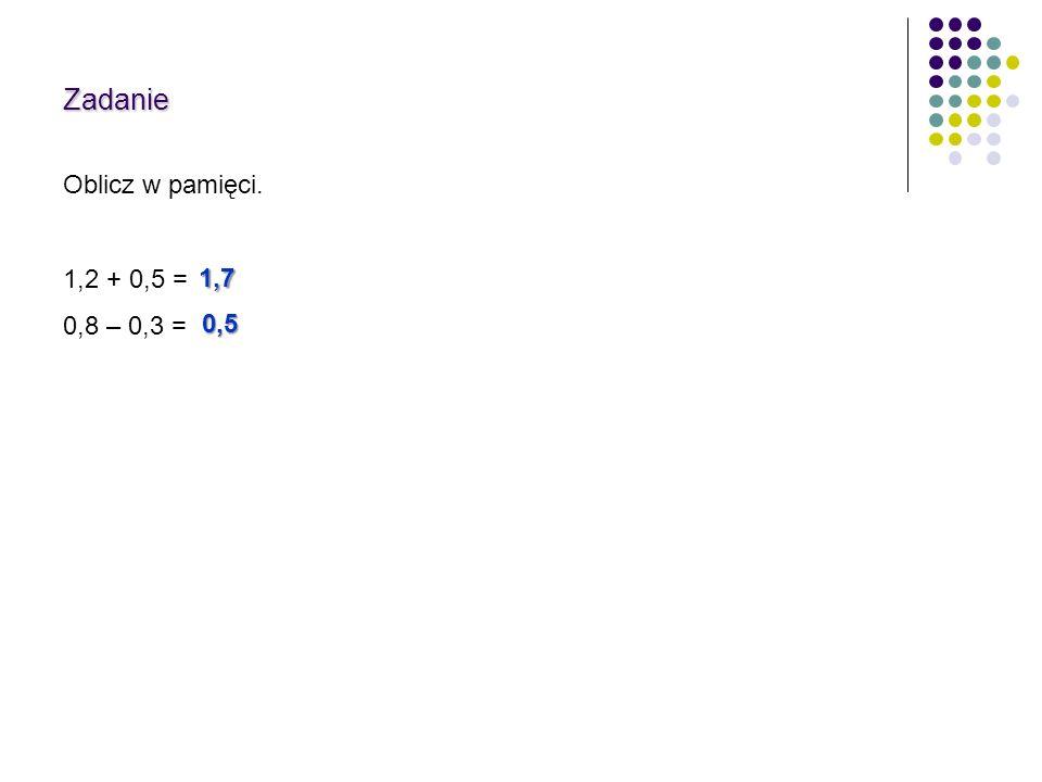 Zadanie Oblicz w pamięci. 1,2 + 0,5 = 0,8 – 0,3 = 1,7 0,5