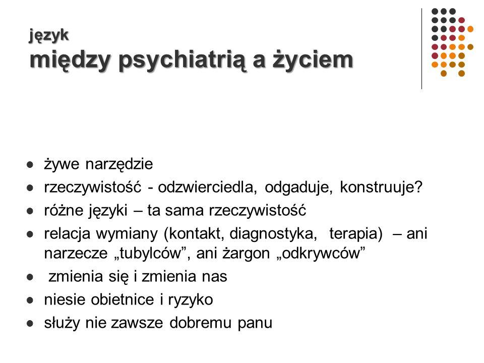 język między psychiatrią a życiem żywe narzędzie rzeczywistość - odzwierciedla, odgaduje, konstruuje.