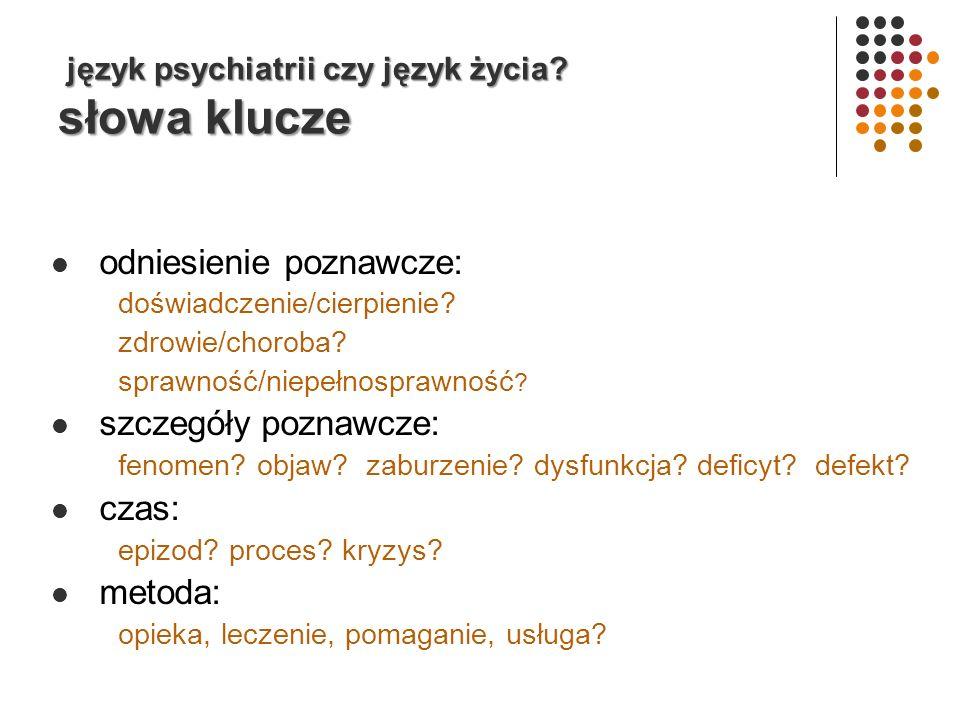 język psychiatrii czy język życia.słowa klucze język psychiatrii czy język życia.