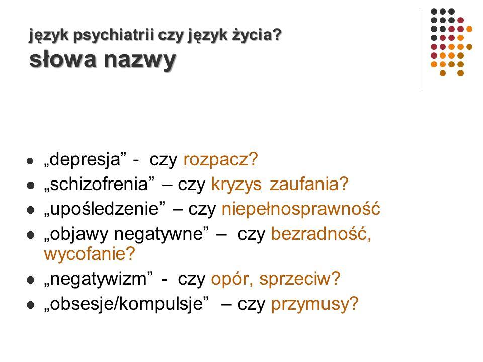 język psychiatrii czy język życia.słowa nazwy depresja - czy rozpacz.