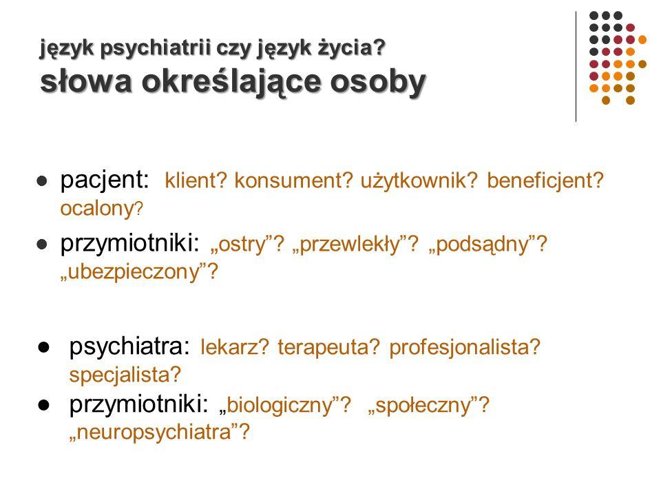 język psychiatrii czy język życia.słowa określające osoby pacjent: klient.