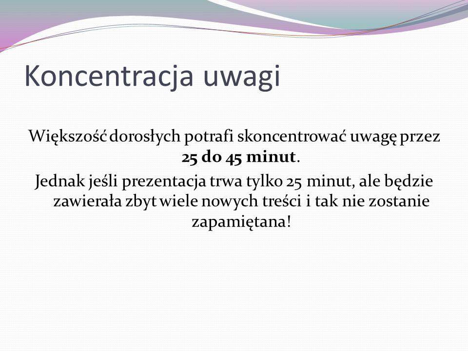 Koncentracja uwagi Większość dorosłych potrafi skoncentrować uwagę przez 25 do 45 minut. Jednak jeśli prezentacja trwa tylko 25 minut, ale będzie zawi