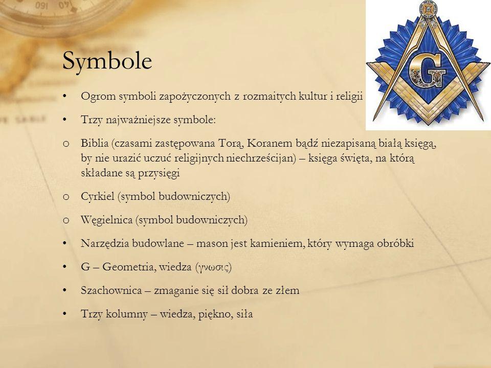 Symbole Ogrom symboli zapożyczonych z rozmaitych kultur i religii Trzy najważniejsze symbole: o Biblia (czasami zastępowana Torą, Koranem bądź niezapisaną białą księgą, by nie urazić uczuć religijnych niechrześcijan) – księga święta, na którą składane są przysięgi o Cyrkiel (symbol budowniczych) o Węgielnica (symbol budowniczych) Narzędzia budowlane – mason jest kamieniem, który wymaga obróbki G – Geometria, wiedza (γνωσις) Szachownica – zmaganie się sił dobra ze złem Trzy kolumny – wiedza, piękno, siła