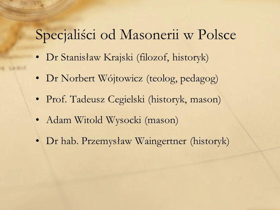 Specjaliści od Masonerii w Polsce Dr Stanisław Krajski (filozof, historyk) Dr Norbert Wójtowicz (teolog, pedagog) Prof.