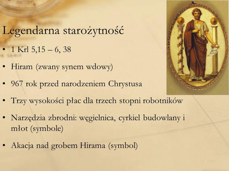 Legendarna starożytność 1 Krl 5,15 – 6, 38 Hiram (zwany synem wdowy) 967 rok przed narodzeniem Chrystusa Trzy wysokości płac dla trzech stopni robotników Narzędzia zbrodni: węgielnica, cyrkiel budowlany i młot (symbole) Akacja nad grobem Hirama (symbol)