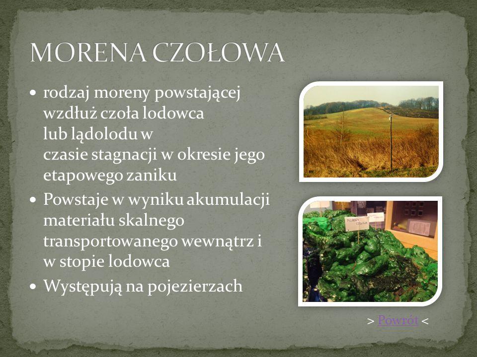 pagórkowata powierzchnia powstała po wytopieniu lodu Jest to forma powstała wskutek działania procesów budujących (akumulacja lodowcowa) Występują w obszarach Polski objętych zlodowaceniami: bałtyckim, środkowopolskim i krako- wskim > Powrót <Powrót