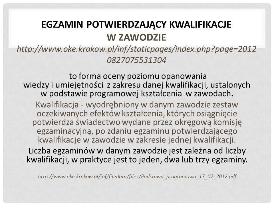 EGZAMIN POTWIERDZAJĄCY KWALIFIKACJE W ZAWODZIE http://www.oke.krakow.pl/inf/staticpages/index.php?page=2012 0827075531304 to forma oceny poziomu opano