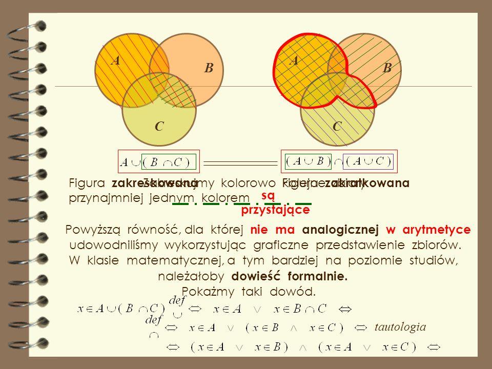 A C B Zakreskujmy kolorowo kolejne zbiory A C B Figura zakratkowana Figura zakreskowana przynajmniej jednym kolorem są przystające Jak to udowodnić ?