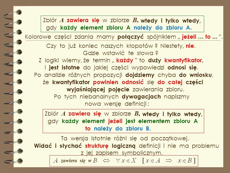 W części wyjaśniającej pojęcie występują dwa zdania : każdy element zbioru A, należy do zbioru B. Nie tylko na lekcji matematyki, ale także języka pol