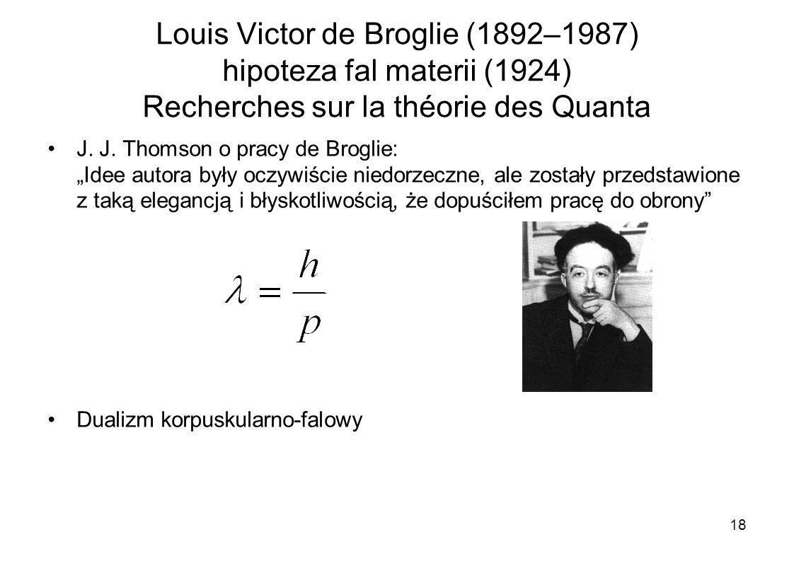 Louis Victor de Broglie (1892–1987) hipoteza fal materii (1924) Recherches sur la théorie des Quanta J. J. Thomson o pracy de Broglie: Idee autora był