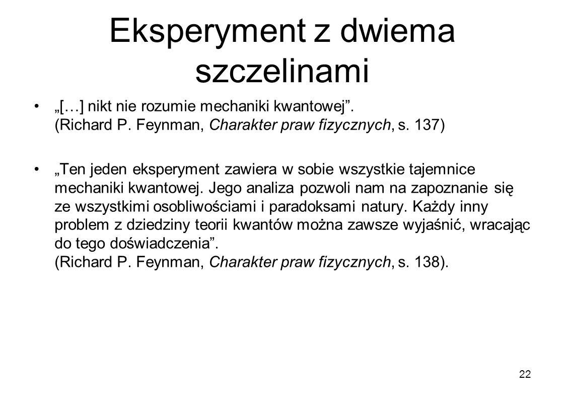 Eksperyment z dwiema szczelinami […] nikt nie rozumie mechaniki kwantowej. (Richard P. Feynman, Charakter praw fizycznych, s. 137) Ten jeden eksperyme
