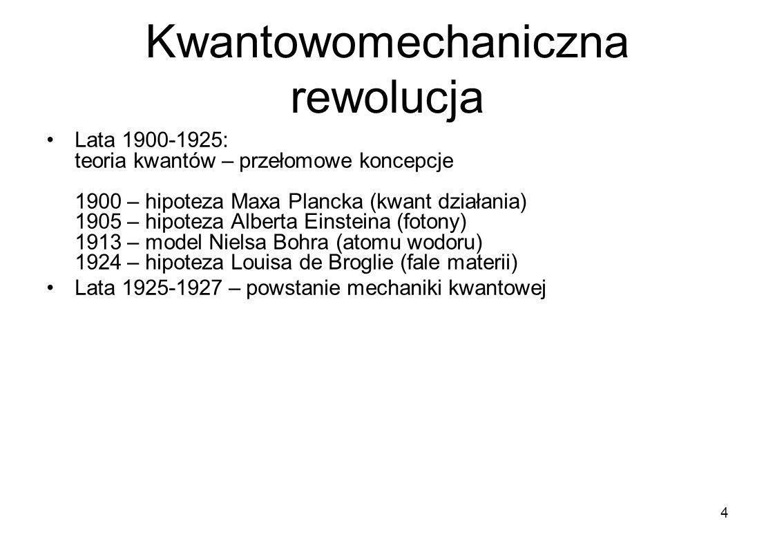 Kwantowomechaniczna rewolucja Lata 1900-1925: teoria kwantów – przełomowe koncepcje 1900 – hipoteza Maxa Plancka (kwant działania) 1905 – hipoteza Alb