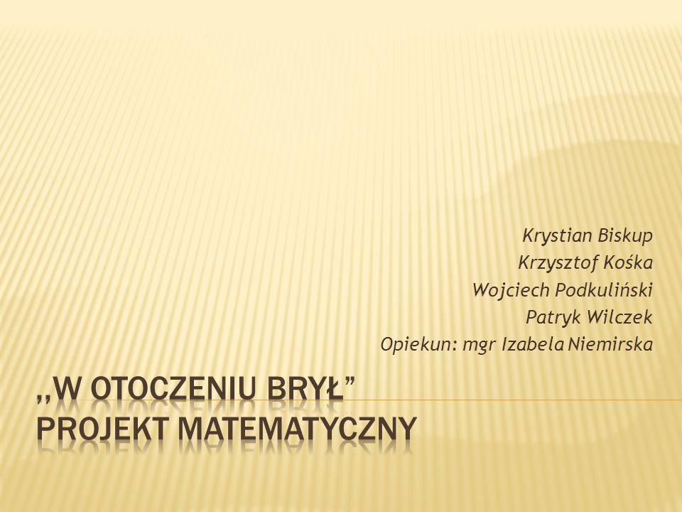 Krystian Biskup Krzysztof Kośka Wojciech Podkuliński Patryk Wilczek Opiekun: mgr Izabela Niemirska